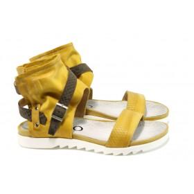 Дамски сандали - естествена кожа - жълти - EO-10549
