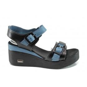 Дамски сандали - естествена кожа - сини - EO-10552