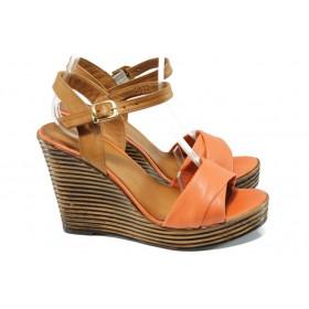 Дамски сандали - естествена кожа - корал - EO-10553