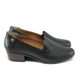 Дамски обувки на среден ток - естествена кожа - черни - EO-10554