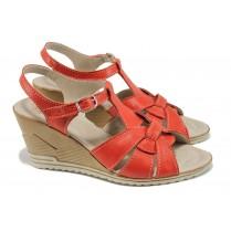 Дамски сандали - естествена кожа - червени - EO-10571