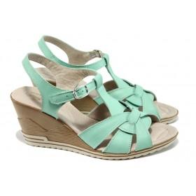 Дамски сандали - естествена кожа - зелени - EO-10572