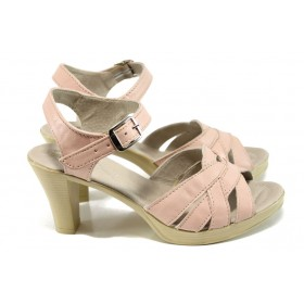 Дамски сандали - естествена кожа - розови - EO-10574