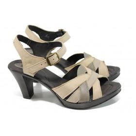 Дамски сандали - естествена кожа - кафяви - EO-10575