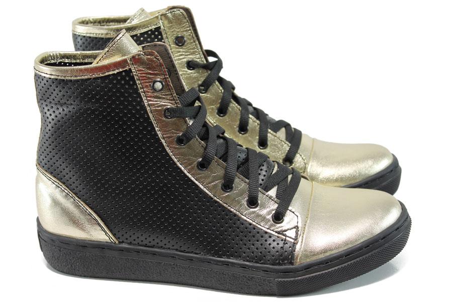 Летни боти - естествена кожа - черни - EO-10576