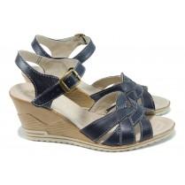 Дамски сандали - естествена кожа - сини - EO-10577