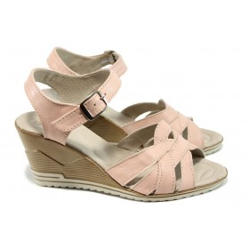 Дамски сандали - естествена кожа - розови - EO-10578