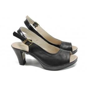 Дамски сандали - естествена кожа - черни - EO-10579