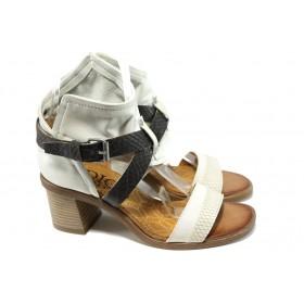Дамски сандали - естествена кожа - бели - EO-10585