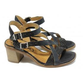 Дамски сандали - естествена кожа - черни - EO-10586