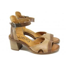 Дамски сандали - естествена кожа - бежови - EO-10587