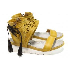 Дамски сандали - естествена кожа - жълти - EO-10583
