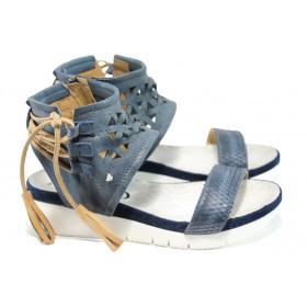 Дамски сандали - естествена кожа - сини - EO-10584