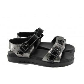 Дамски сандали - естествена кожа - сребро - EO-10660