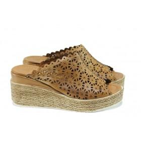 Дамски чехли - естествена кожа - кафяви - EO-10655