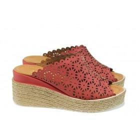 Дамски чехли - естествена кожа - червени - EO-10656
