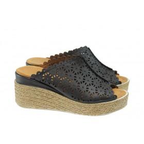 Дамски чехли - естествена кожа - черни - EO-10657