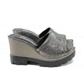 Дамски чехли - естествена кожа - сребро - EO-10652