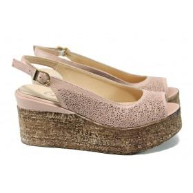 Дамски сандали - естествена кожа - розови - EO-10658