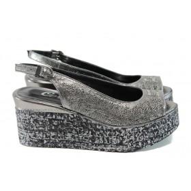 Дамски сандали - естествена кожа - сребро - EO-10659