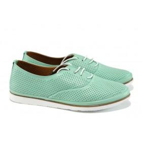 Равни дамски обувки - естествена кожа - зелени - EO-10666