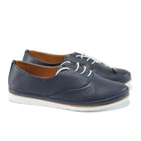 Равни дамски обувки - естествена кожа - сини - EO-10664