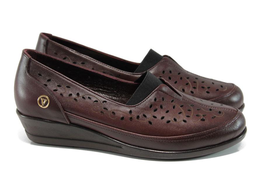 Равни дамски обувки - естествена кожа - бордо - EO-10661