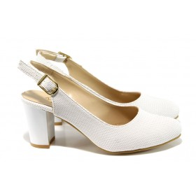 Дамски обувки на висок ток - висококачествена еко-кожа - бели - EO-10662