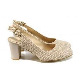 Дамски обувки на висок ток - висококачествена еко-кожа - бежови - EO-10663
