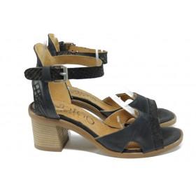 Дамски сандали - естествена кожа - черни - EO-10684