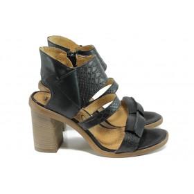 Дамски сандали - естествена кожа - черни - EO-10685