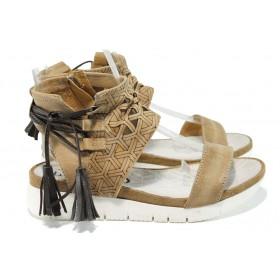 Дамски сандали - естествена кожа - бежови - EO-10687