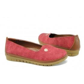 Равни дамски обувки - висококачествена еко-кожа - червени - EO-10778