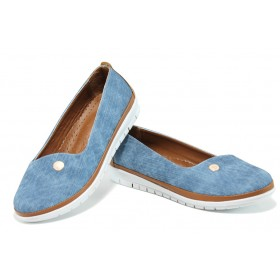 Равни дамски обувки - висококачествена еко-кожа - сини - EO-10782