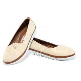 Равни дамски обувки - висококачествена еко-кожа - бежови - EO-10779