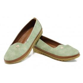 Равни дамски обувки - висококачествена еко-кожа - зелени - EO-10780