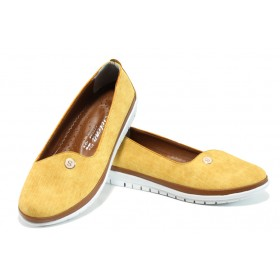 Равни дамски обувки - висококачествена еко-кожа - жълти - EO-10781