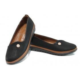 Равни дамски обувки - висококачествена еко-кожа - черни - EO-10777