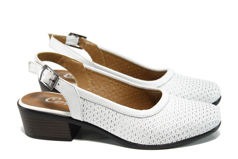 Дамски обувки на среден ток - естествена кожа - бели - EO-10776