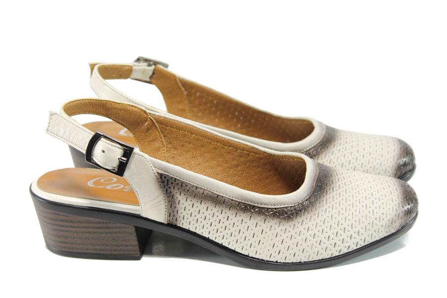 Дамски обувки на среден ток - естествена кожа - бежови - EO-10775