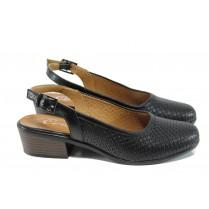 Дамски обувки на среден ток - естествена кожа - черни - EO-10774