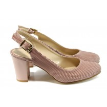 Дамски обувки на висок ток - висококачествена еко-кожа - розови - EO-10772