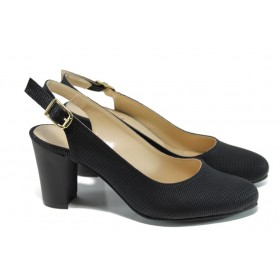 Дамски обувки на висок ток - висококачествена еко-кожа - черни - EO-10773