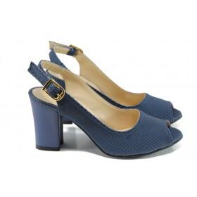 Дамски сандали - висококачествена еко-кожа - сини - EO-10765