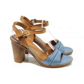 Дамски сандали - естествена кожа - сини - EO-10763