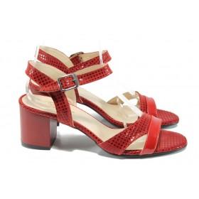 Дамски сандали - еко кожа-лак - червени - EO-10767