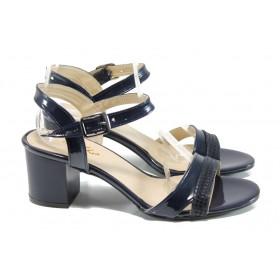 Дамски сандали - еко кожа-лак - сини - EO-10766