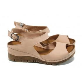 Дамски сандали - естествена кожа - розови - EO-10771