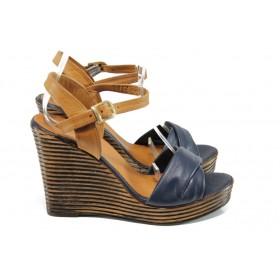 Дамски сандали - естествена кожа - сини - EO-10769