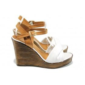 Дамски сандали - естествена кожа - бели - EO-10770